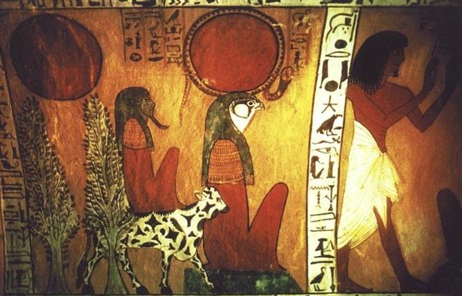 Бог Ра. Фреска на гробнице.