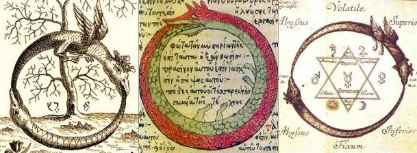 Уроборос - змей, кусайющий себя за хвост. Символ вечности и бесконечности.