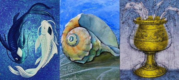 Символ воды: рыбы, морская раковина, чаша.