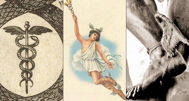 Бог Меркурий и его атрибуты: кадуцей и летучие сандалии с крылышками.