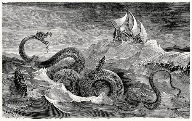Морской змей. Густав Доре