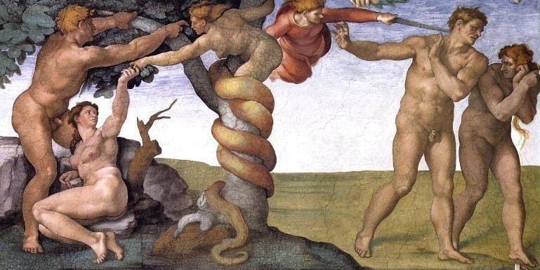 Грехопадение и изгнание из Рая. Микеланджело